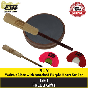 Buy 1 Walnut Slate Pot Call and Get 3 Free Gifts - Esh Custom Calls