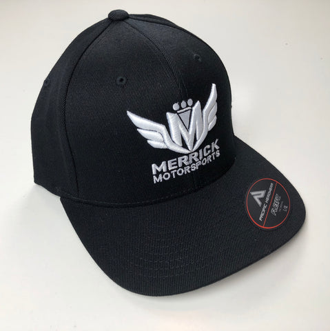 Merrick Motorsports Black Flexfit Pro Model Hat White 3D Logo