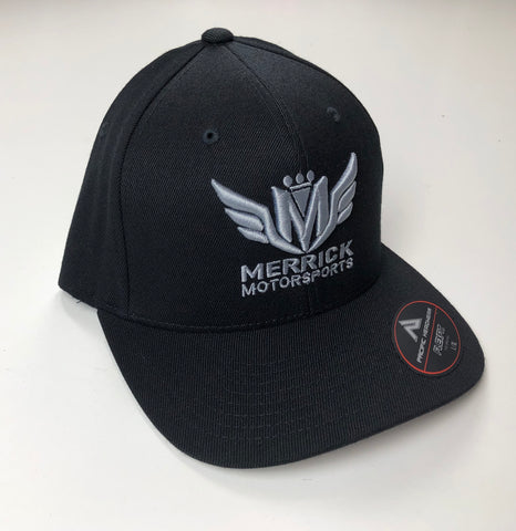 Merrick Motorsports Black Flexfit Pro Model Hat Grey 3D Logo