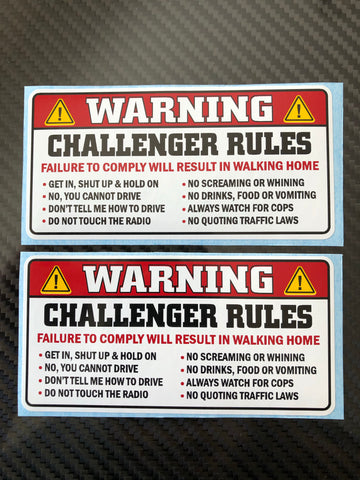 Set of Two Sun Visor Warning Stickers