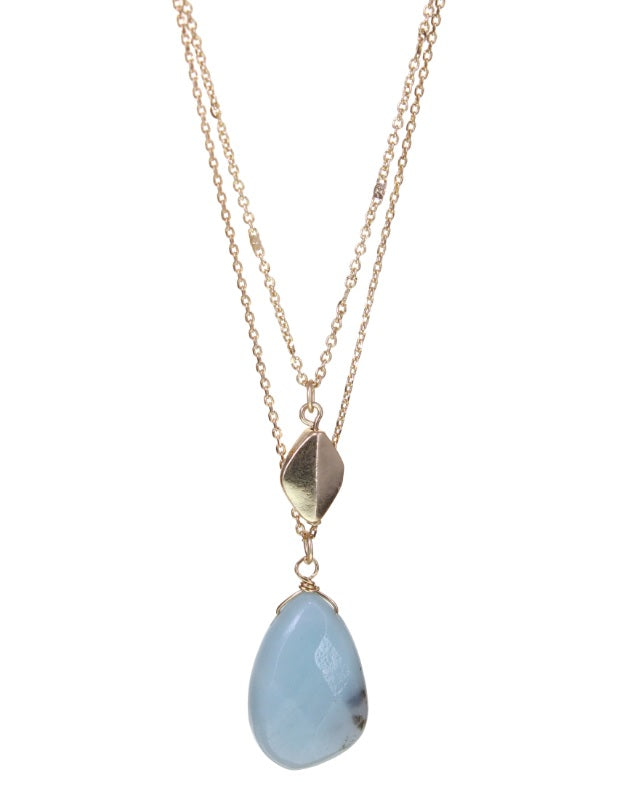 Semi-Precious Double Layer Necklace: 2 Stone Varieties