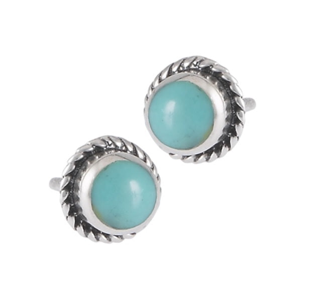 Synthetic Turquoise Bali Style Stud Earrings: B9