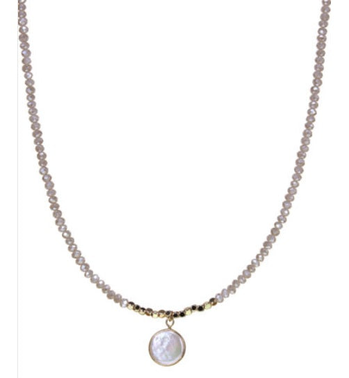 Crystal Beaded Necklace with Fresh Water Pearl Pendant: 2 Color Varieties