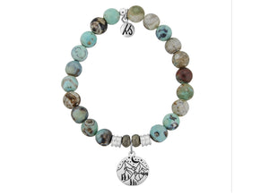 Turquoise Jasper Stone Bracelet with Mountain Sterling Silver Charm