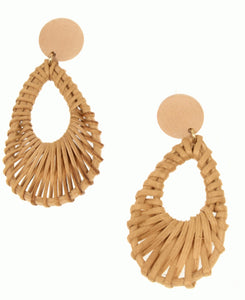 Natural Rattan Teardrop Post Earring