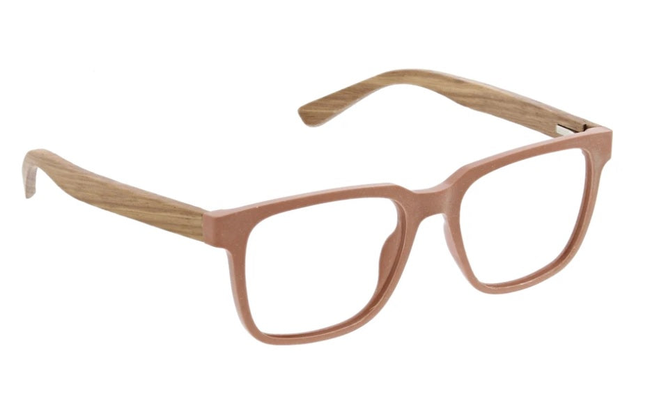 Peepers Blue Light Glasses: Homespun Blush/Wood