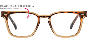Peepers Blue Light Glasses: Strut Focus Tan/Tort