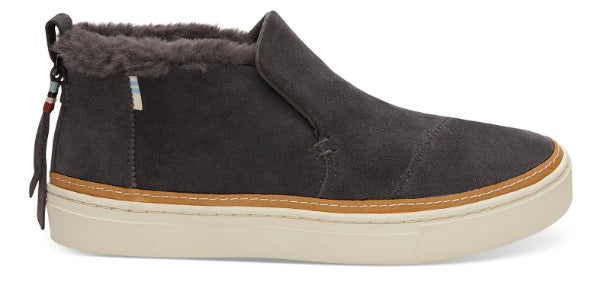 TOMS Paxton Forged Iron Grey Suede/ Faux Fur Water Resistant