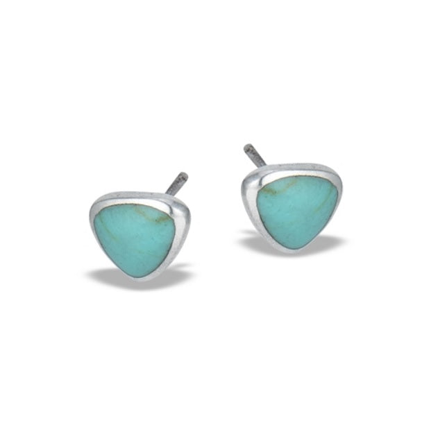 Triangular Synthetic Turquoise Stud Earring: B13