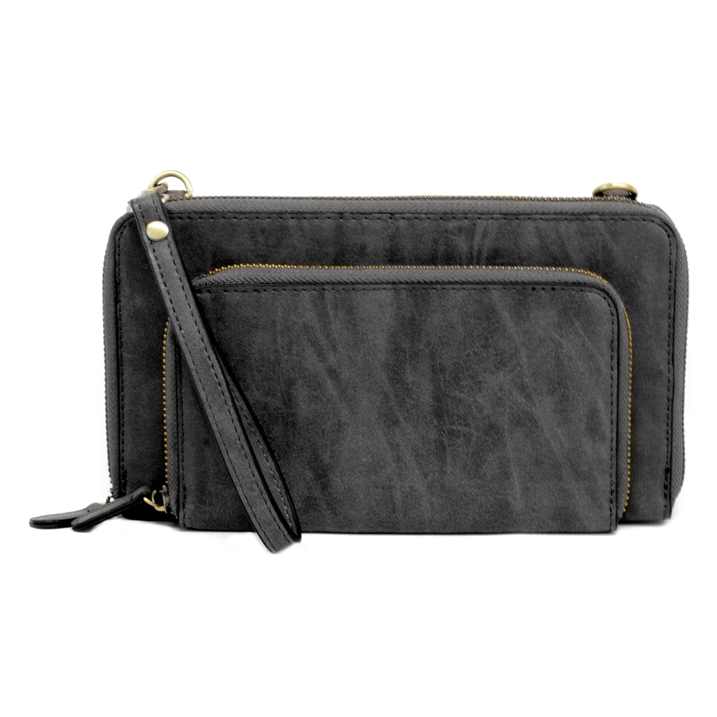 Brushed Mini Convertible Zip Around Wristlet