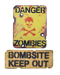 Kids Zombie Keep Out Wooden Bedroom Sign Set