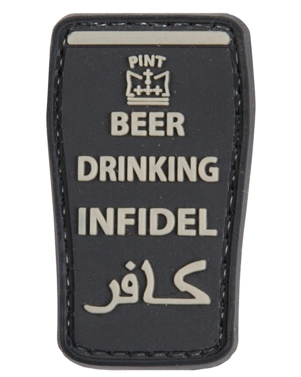 Beer Drinking Infidel Patch - Black - CoreDog Airsoft