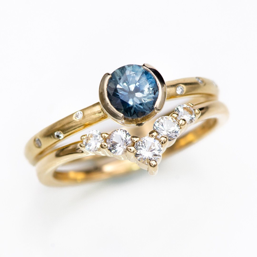 Beautiful golden ring stack with...