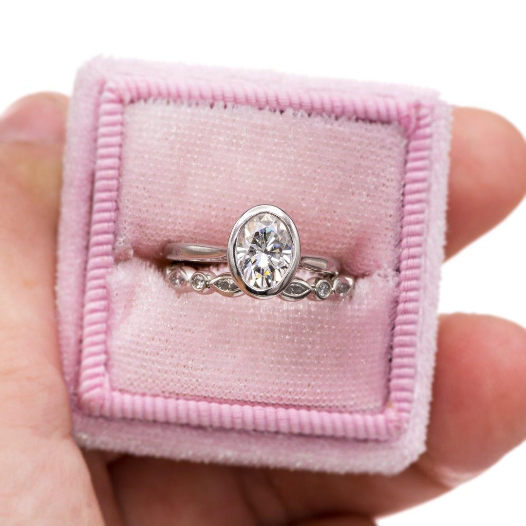 Custom Oval Moissanite Engagement Ring & Maggie Band in Platinum - Nodeform