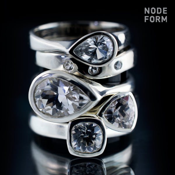 white sapphire rings