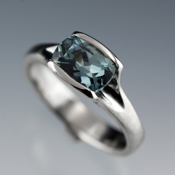 teal cushion cut fair trade sapphire ring in palladium