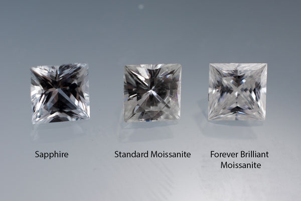Princess cut white sapphire (left) vs. Standard Moissanite (middle)  vs Forever Briliant Moissanite (right)