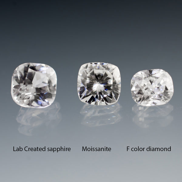 cushion white sapphire vs moissanite vs diamond