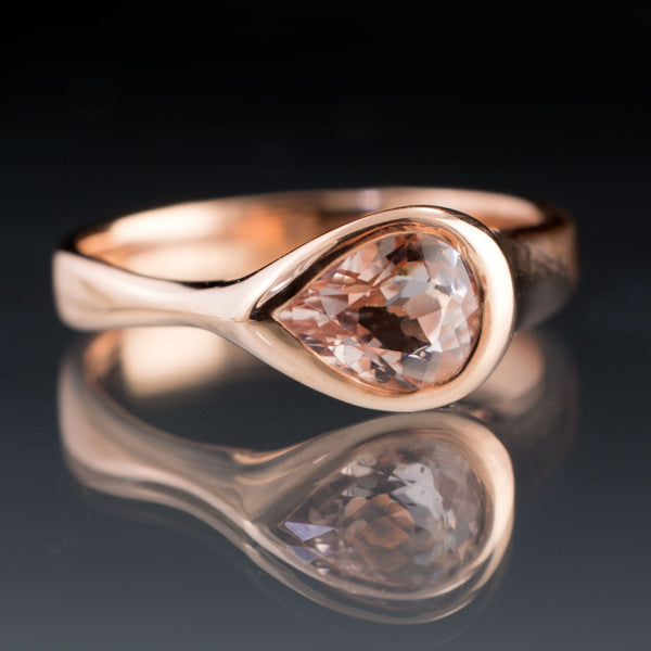 pink pear morganite ring in rose gold