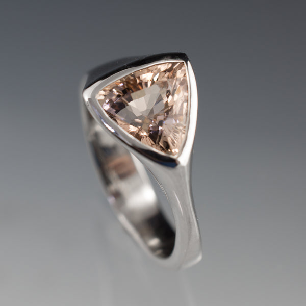 Trillion morganite engagement ring
