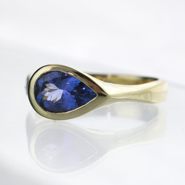 Tear Dop Tanzanite Gold Engagement Ring