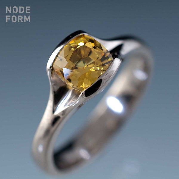 yellow cushion cut saphire Fold engagement ring