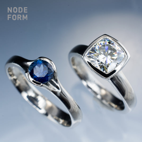 Fair trade sapphire and moissanite palladium engagement rings