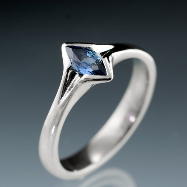 Marquise Blue Sapphire Engagement Ring