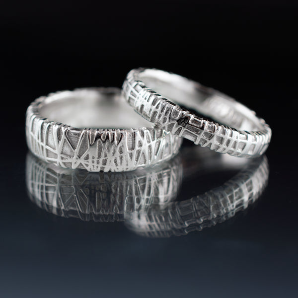 woven texture wedding rings
