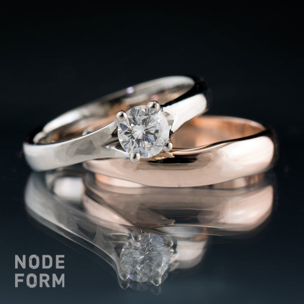 non-matched diamond ring bridal set