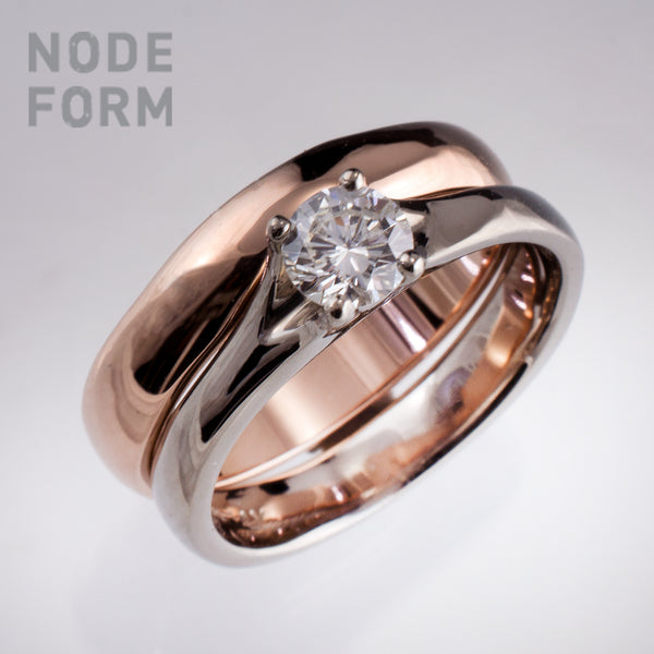 Diamond white gold enegagement ring and rose gold wedding band bridal set