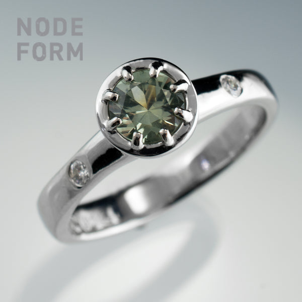 Green Montana Sapphire and Diamond Platinum Engagement Ring