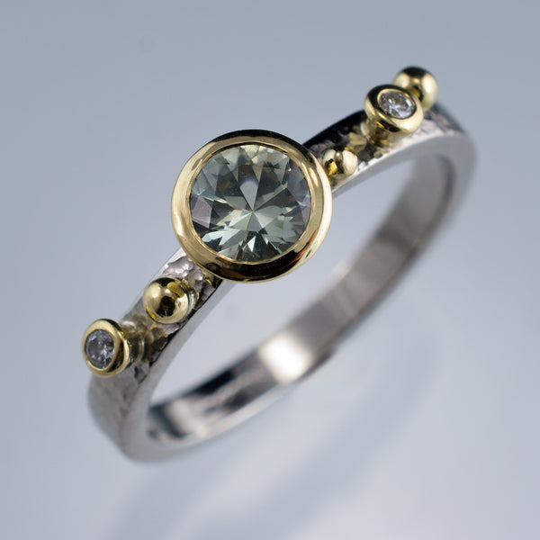 Engagement Ring Green Montana Sapphire & Diamonds in 18k Gold Accents