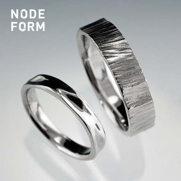 Water and tree wedding ring set