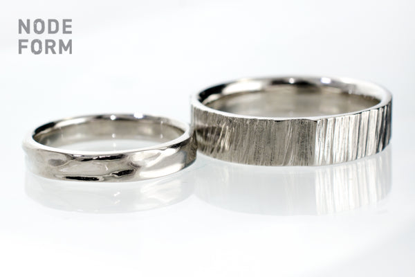 Water and tree Textured  wedding ring set