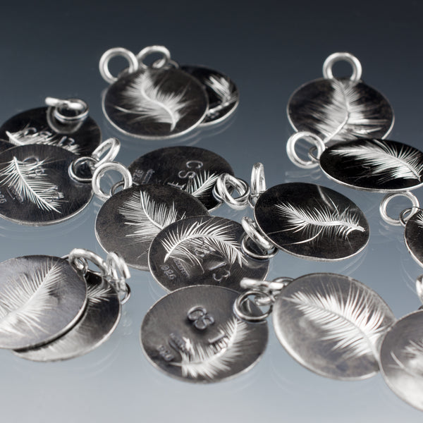 sterling silver feather charm group
