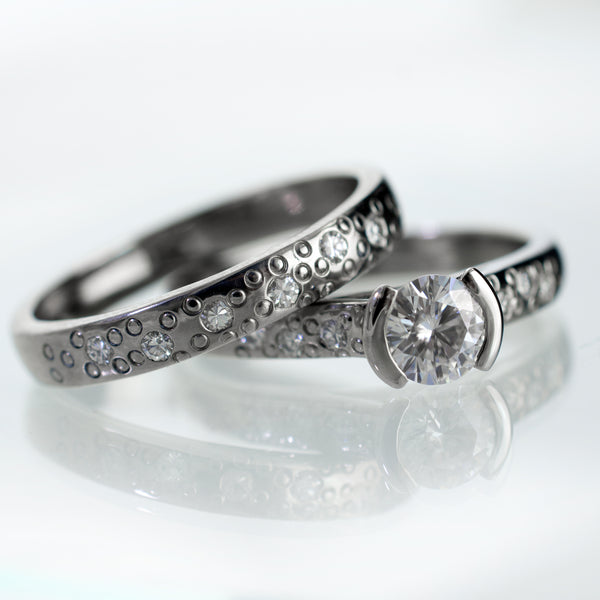 Moissanite bridal ring set engagement ring and matching star dust band