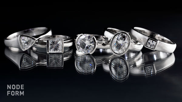 moissanite rings with various shapes of moissanites