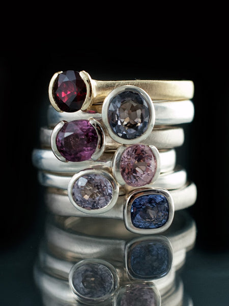 Spinels rings in a beautiful color array