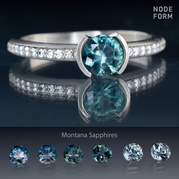 teal fair trade Montana sapphire engagement ring designs