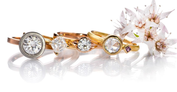 handmade rose and yellow gold engagement rings by Nodeform