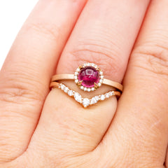Vaness band and tourmaline halo engagement ring stack