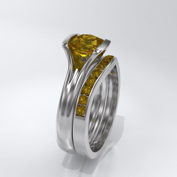 bridal set cushion yellow sapphire ring and yellow sapphire channel set wedding band