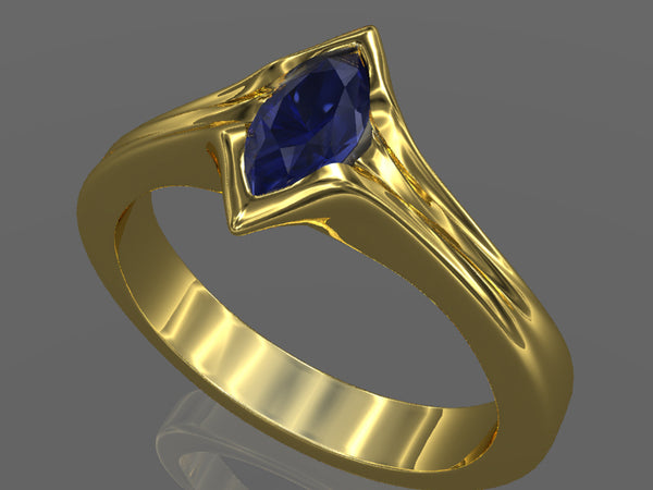 rendering marquise sapphire gold ring