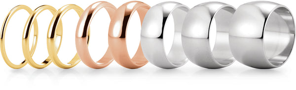 plain domed wedding rings in yellow, rose and white gold and various widths