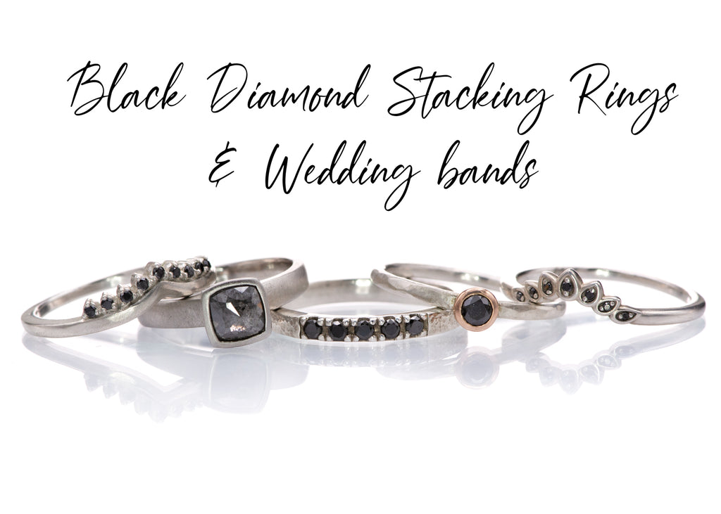 black diamond stacking rings and wedding bands