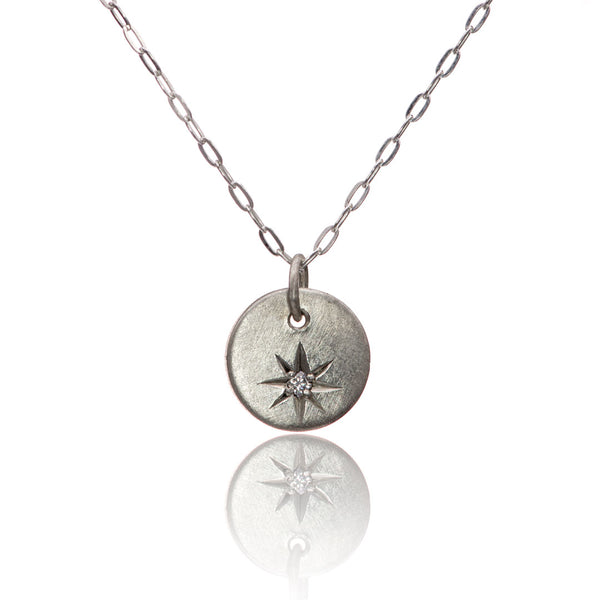 moissanite star set silver necklace