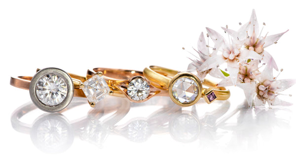 ready to ship gold engagement rings with moidssanites