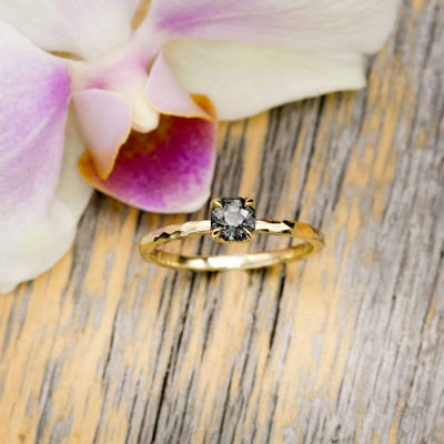 Octagon Gray Spinel Prong Set Stacking Solitaire Engagement Ring, Ready To Ship, size 4-9