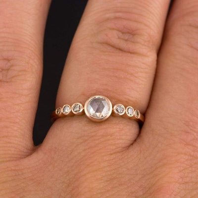 Bezel set Rose Cut Diamond & Graduated Champagne Diamond 14k Rose Gold Engagement Ring, size 4-9 - by Nodeform